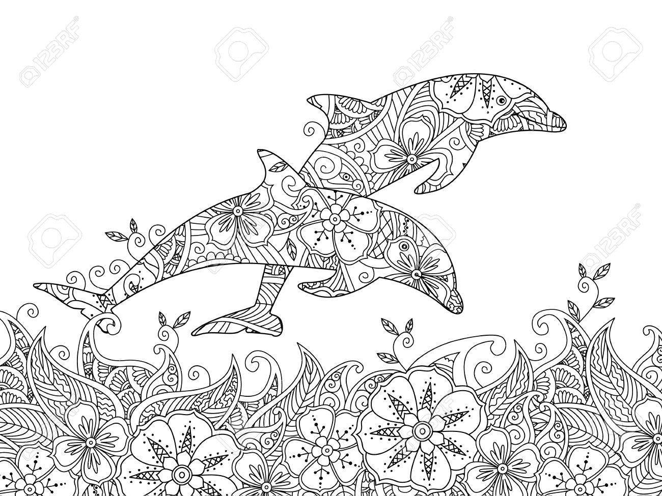 Dibujo Para Colorear Con Par De Delfines Saltando En El Mar ...