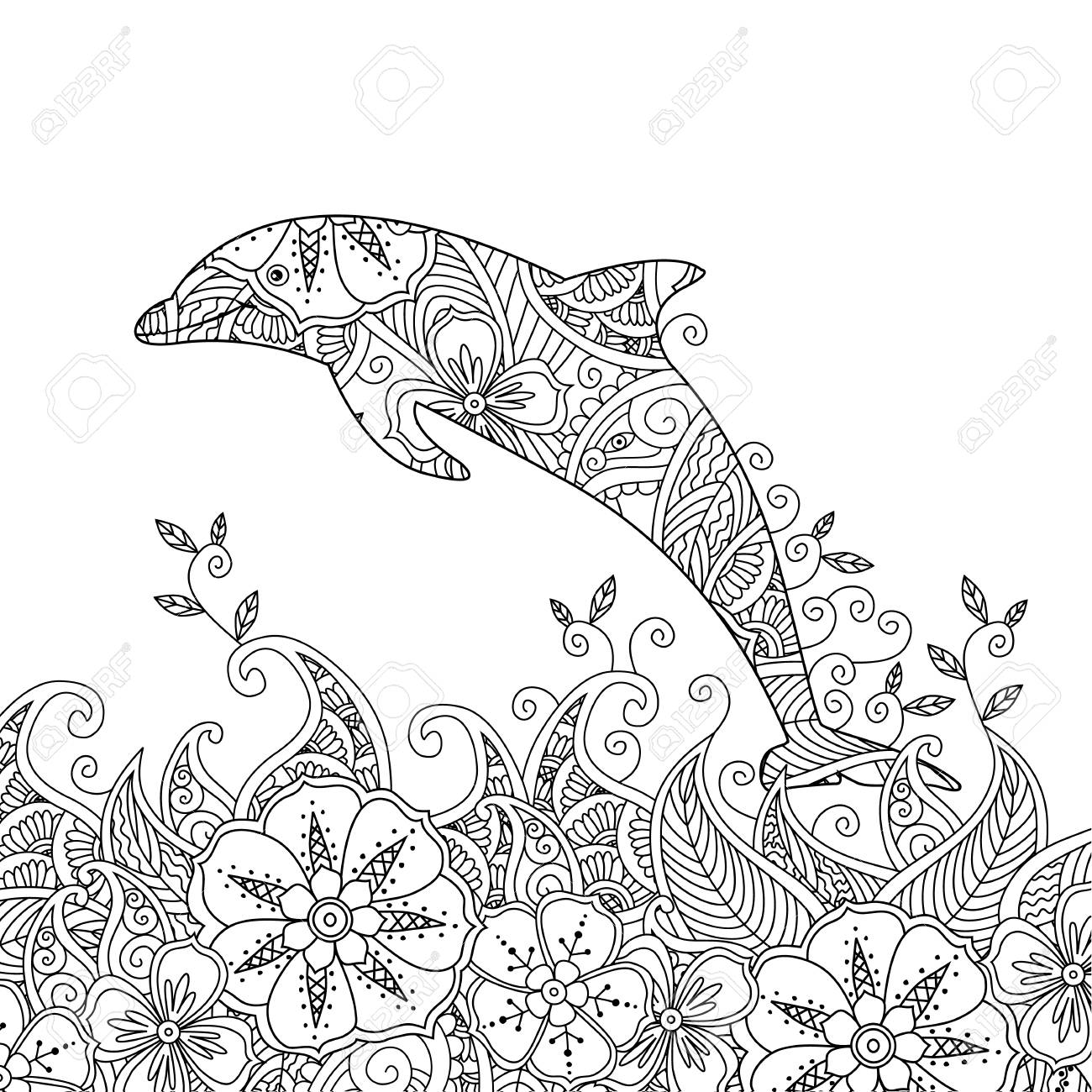 Coloring Page With One Jumping Dolphin In The Sea. Square ...