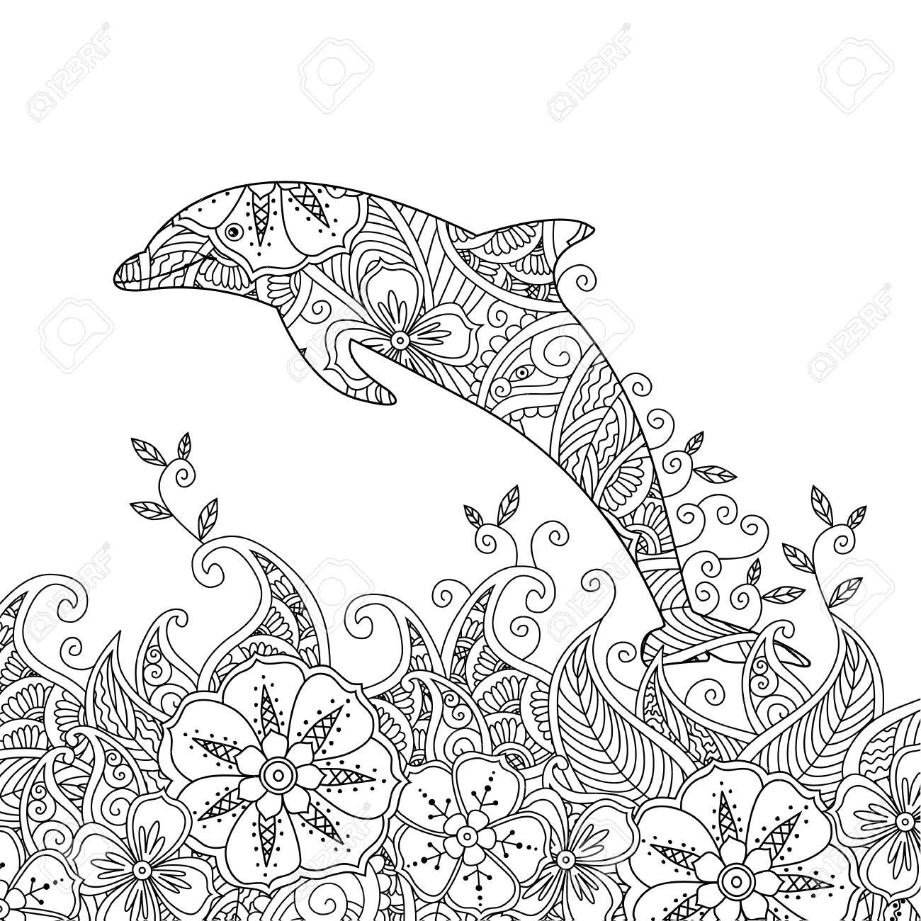 Página Para Colorear Con Un Delfín Saltando En El Mar. Composición ...
