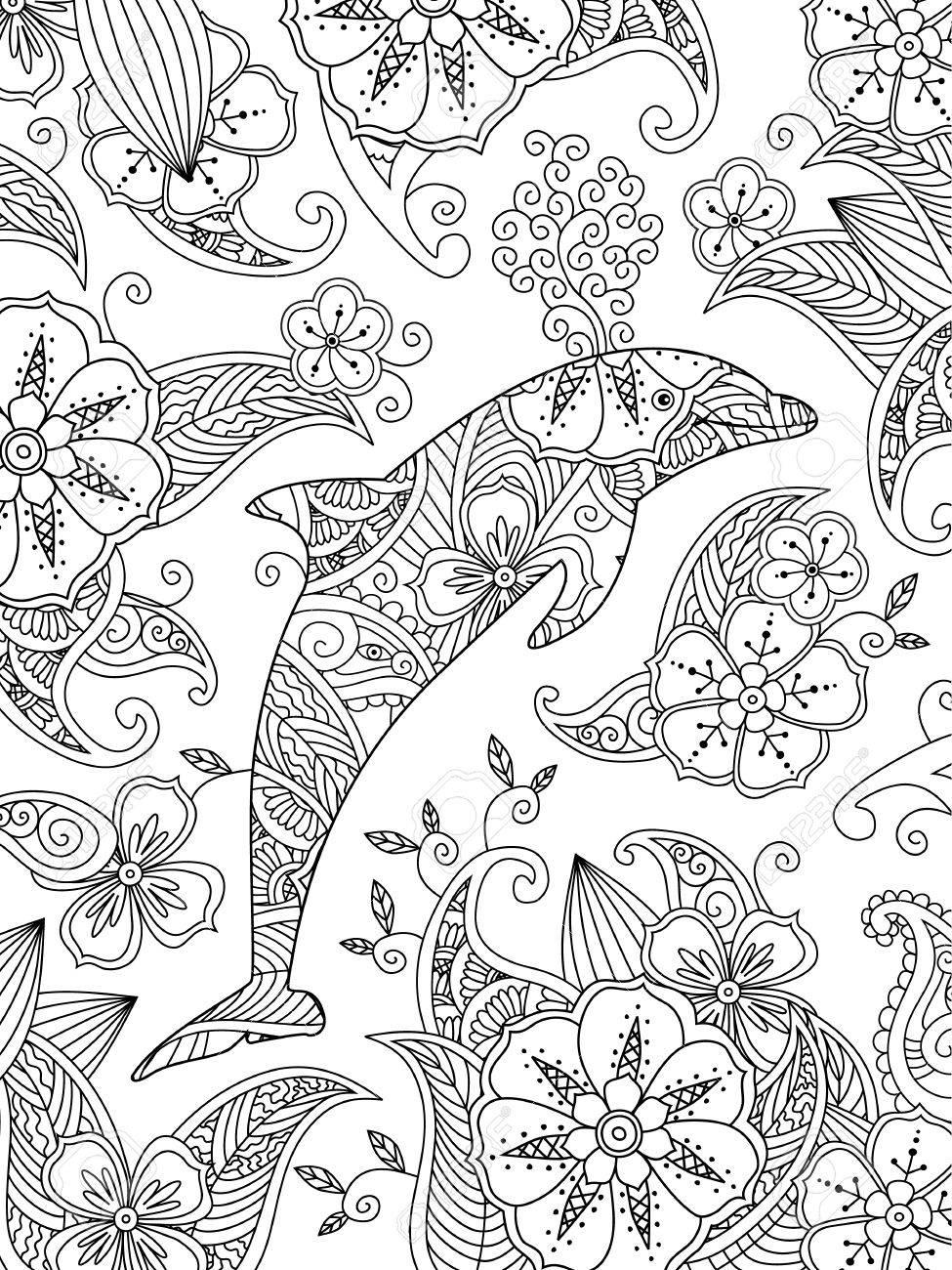Dibujo Para Colorear Con Un Delfin Saltando Sobre Fondo Floral