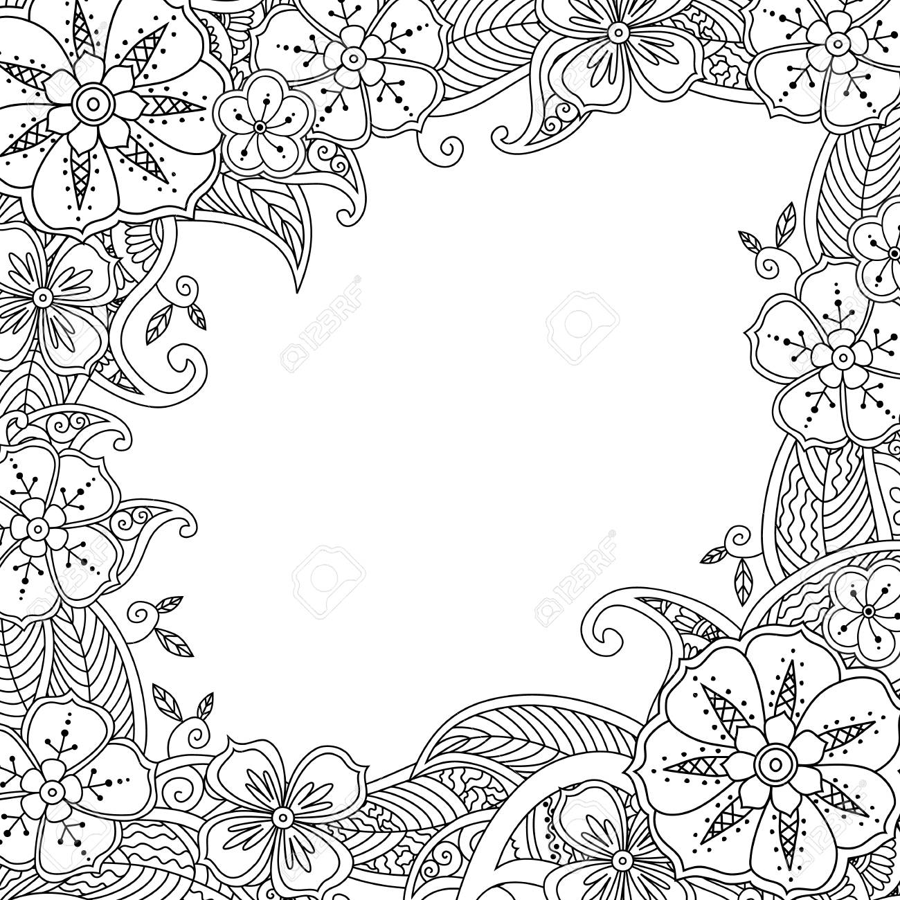 Floral Hand Drawn Square Frame In Inspired Style Doodle Flowers Royalty Free Cliparts Vectors And Stock Illustration Image 79282837