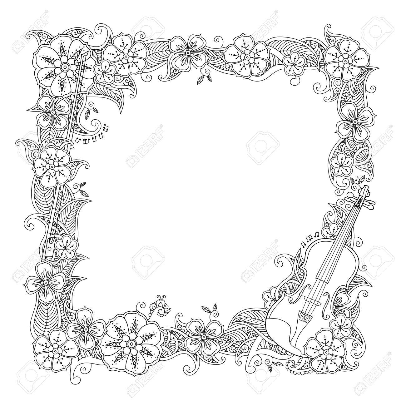 Coloring Page Border Square Frame With Violin Isolated On White Background Antistress Coloring