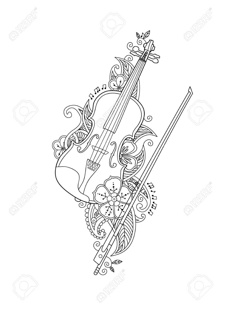 Dibujo Para Colorear Violín Y Arco Con Flores Y Hojas En Estilo Floral Mehendi Doodle Aisladas Sobre Fondo Blanco Libro Para Colorear Antistress