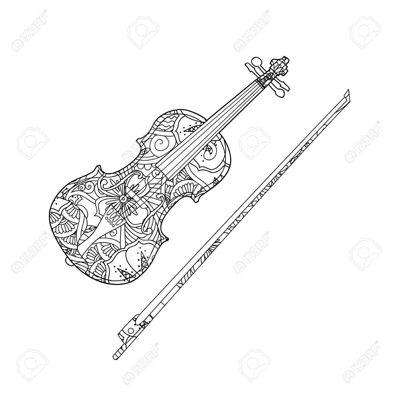 Coloring Page With Ornamental Violin And Fiddlestick Isolated On White Background Book For Adult