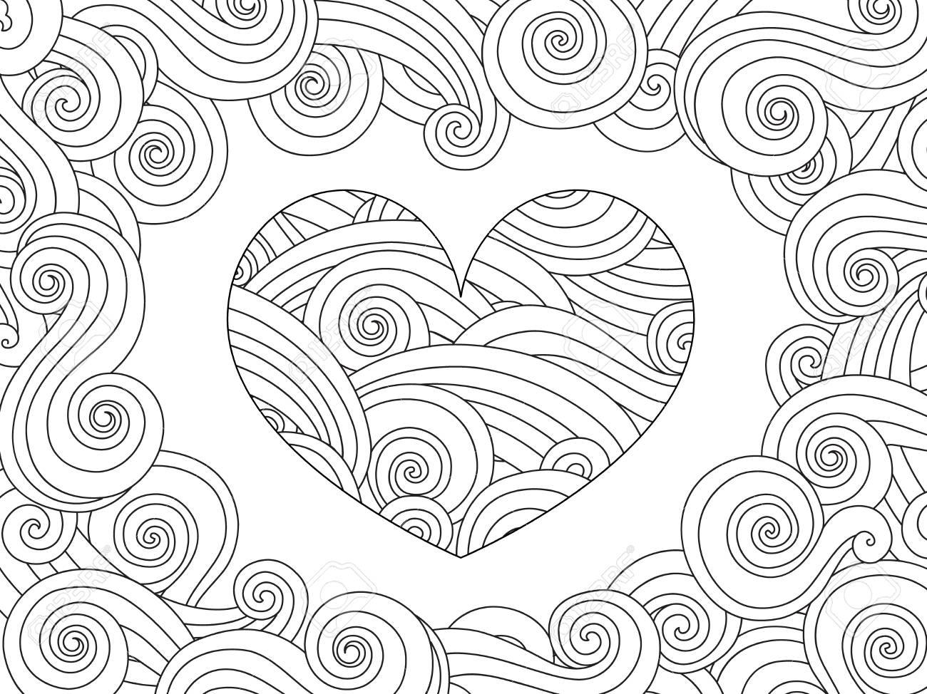 Dibujo Para Colorear Con El Corazón Y Ola Rizado Adorno. Tarjeta ...