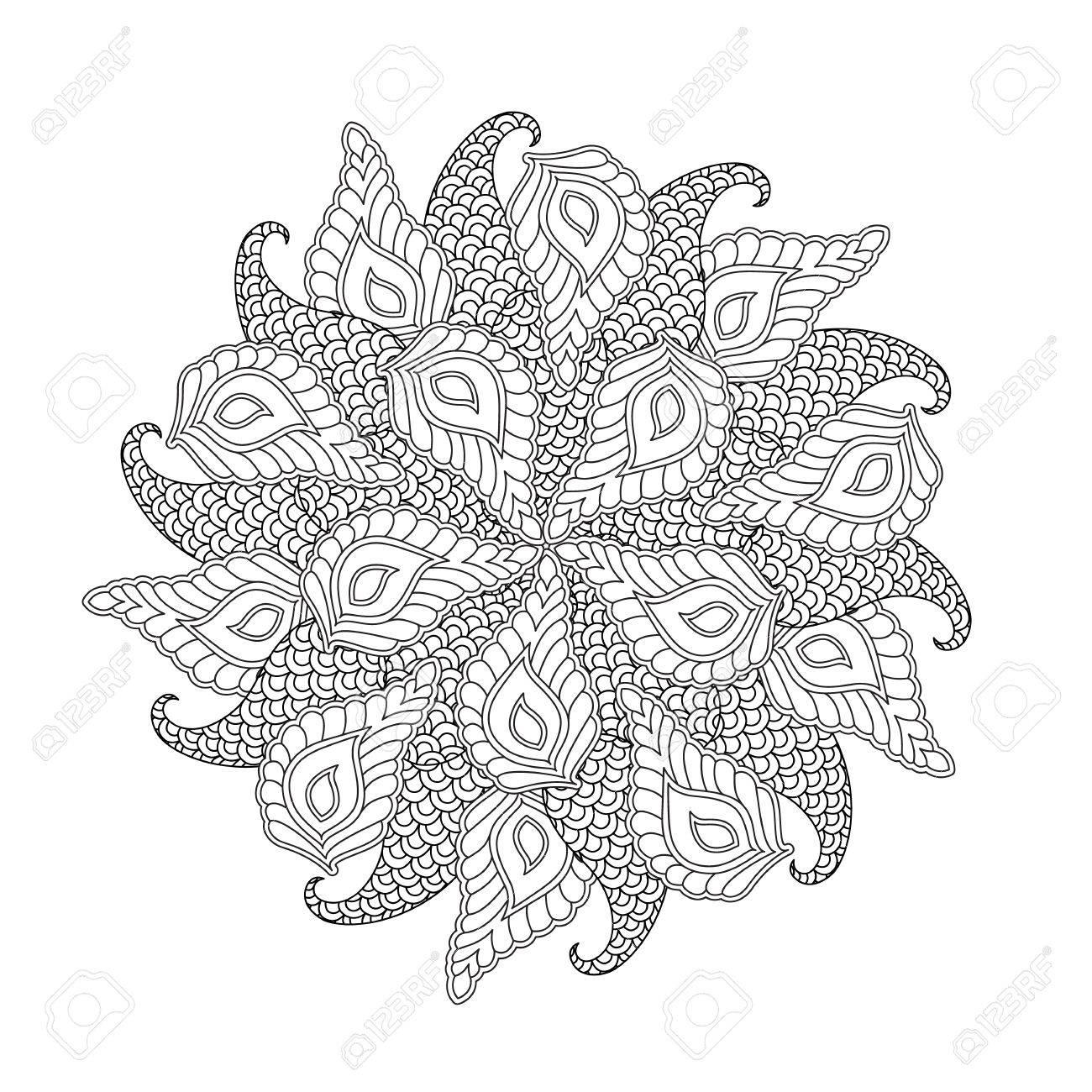 Mandala Gráfico Con Hojas Y Formas Abstractas. Estilo Inspirado ...