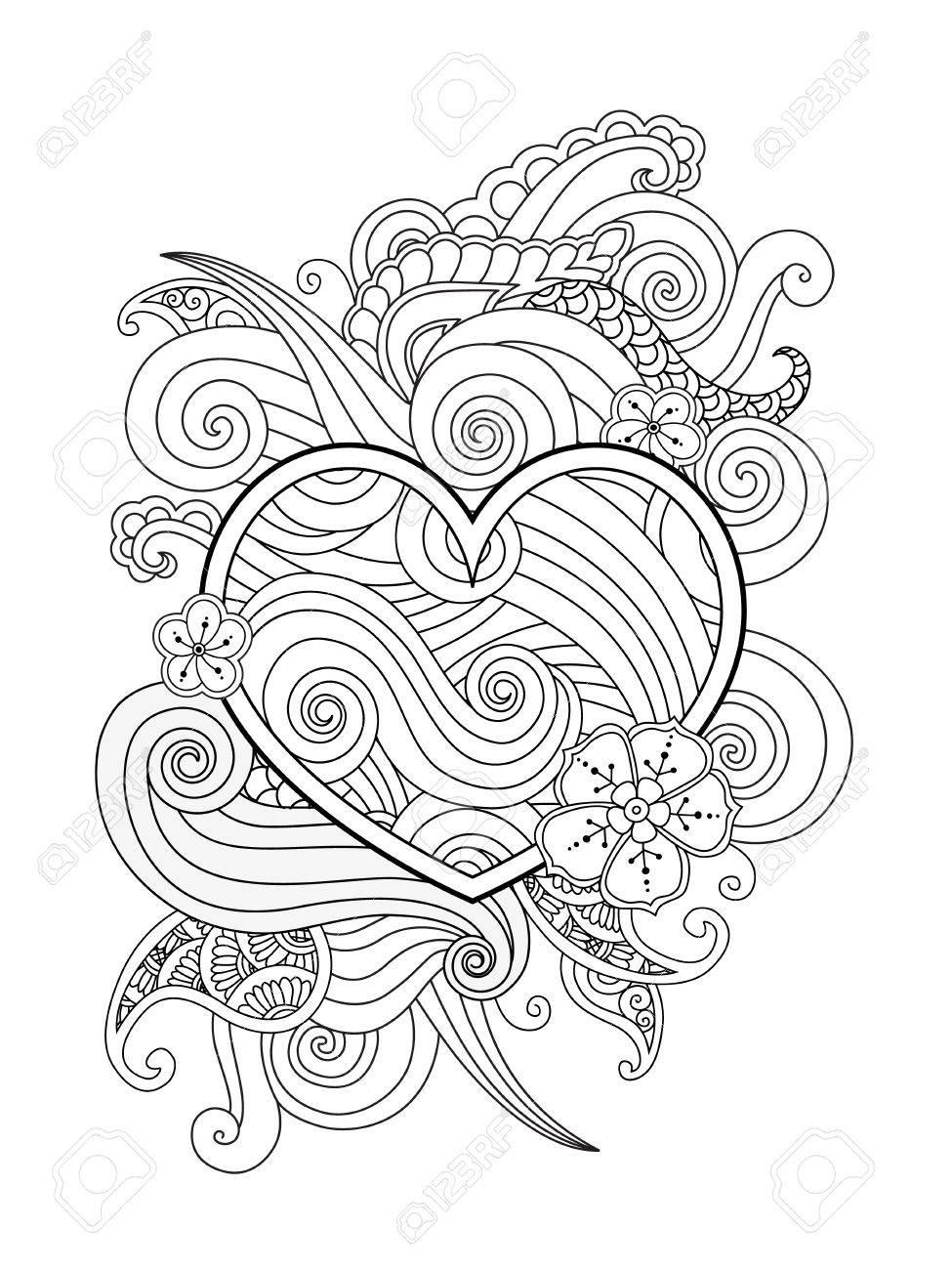Dibujo Para Colorear Con El Corazon Y El Elemento Abstracto Aislado