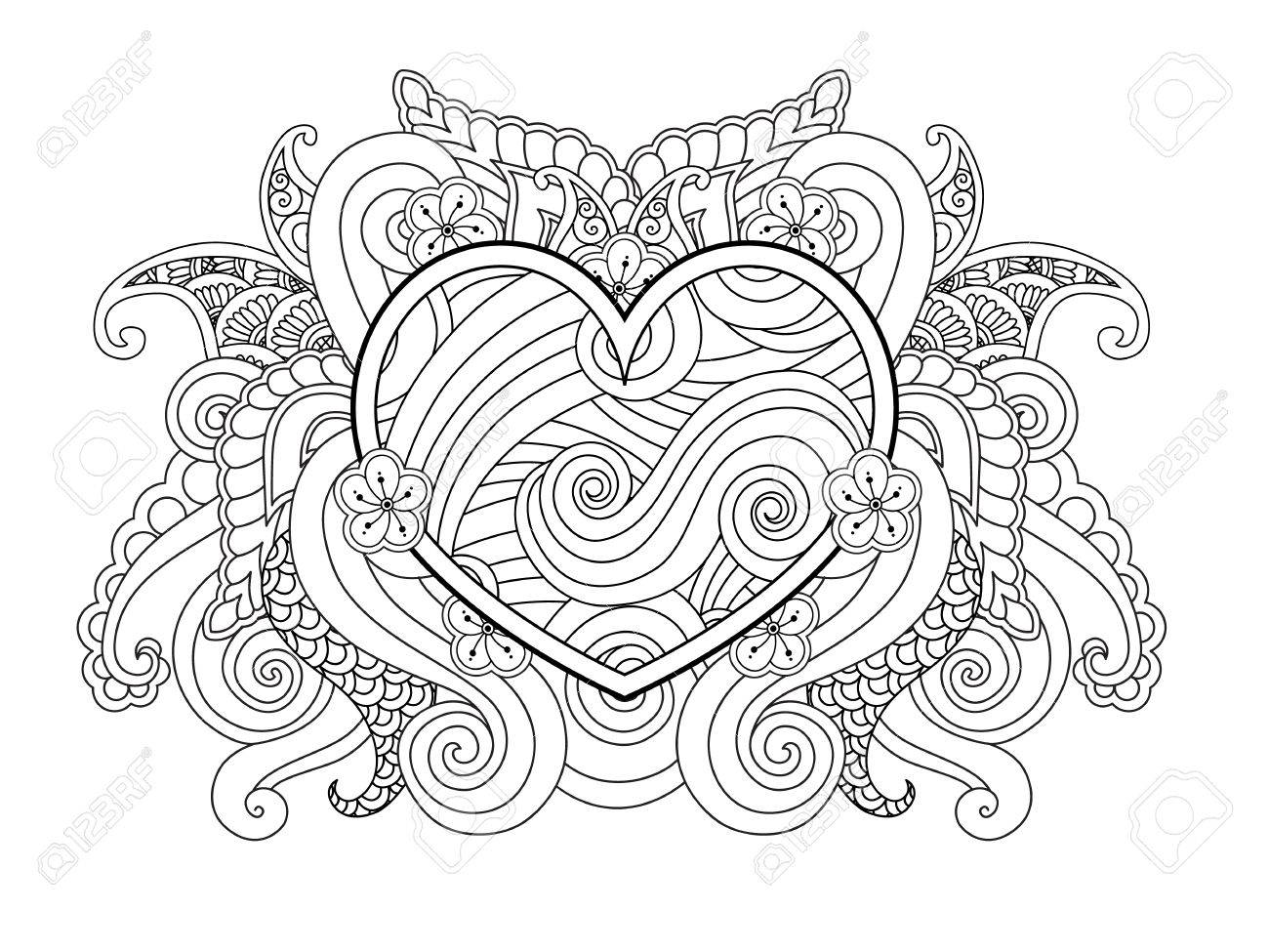 Coloring Page With Heart And Abstract Element Isolated Happy