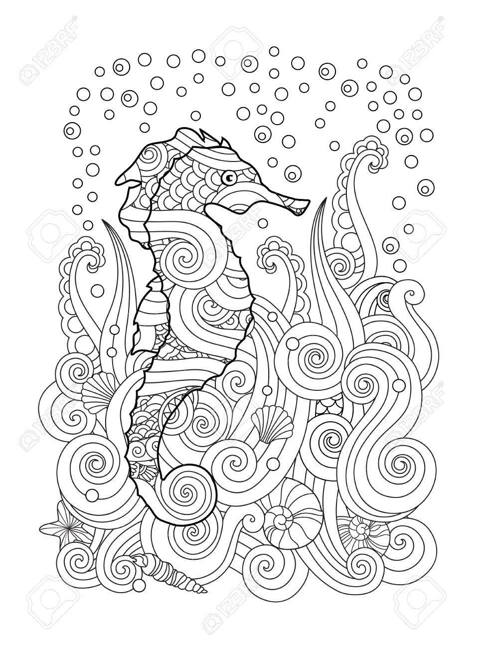 Croquis Dessiné Main D Hippocampe Sous La Mer Dans Un Style Inspiré