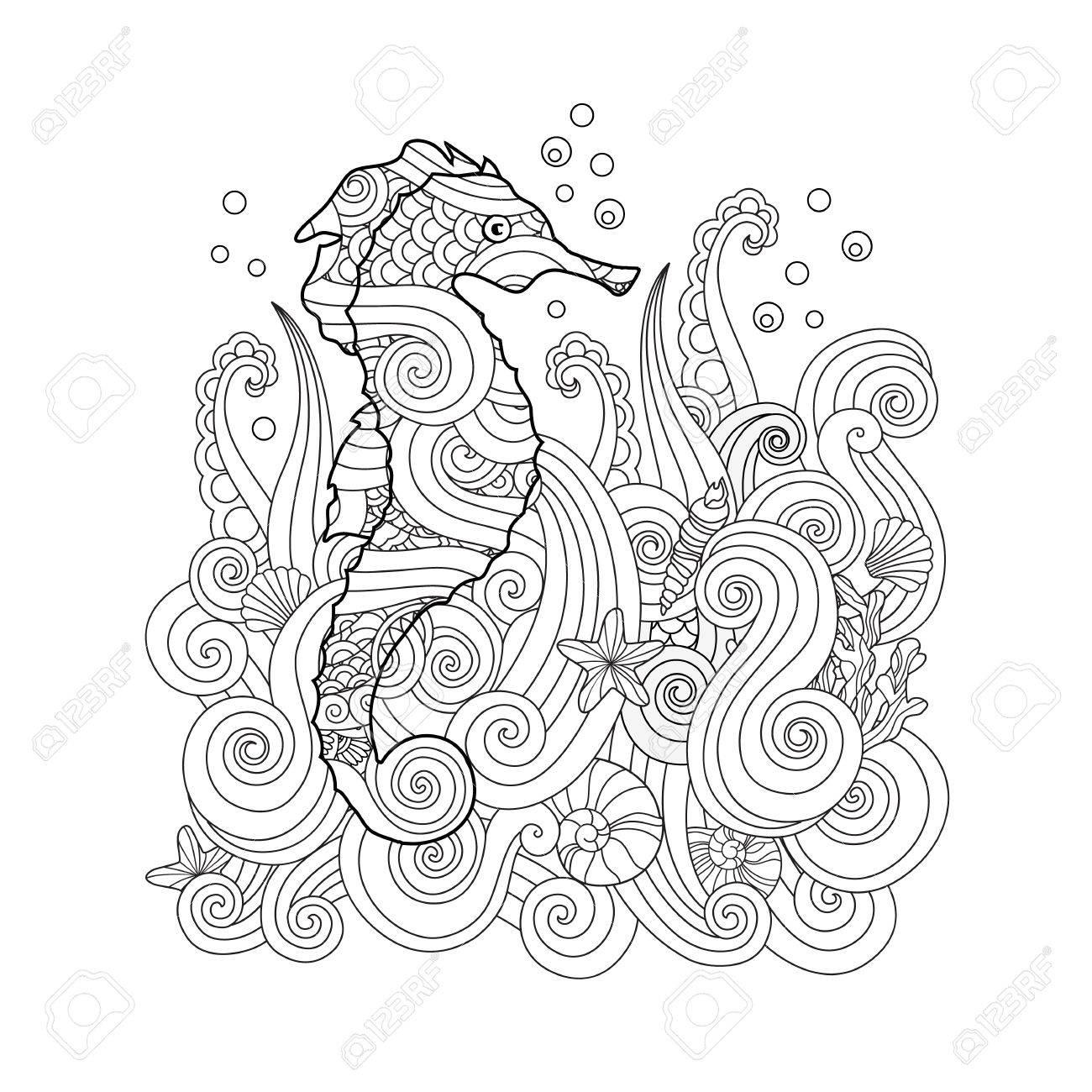Bosquejo Dibujado A Mano Del Seahorse Bajo El Mar En Zentangle ...