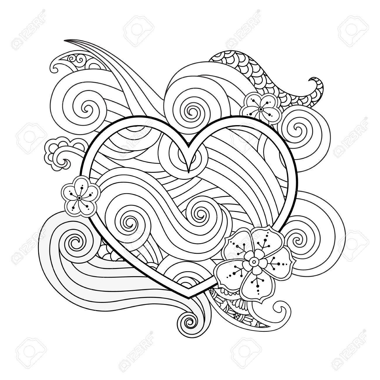 Dibujo Para Colorear Con El Corazón Y El Elemento Abstracto Aislado ...