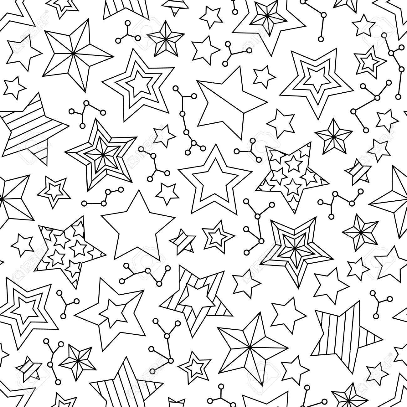 Patrones Sin Fisuras Con Estrellas De Contorno. Página De Libro Para ...