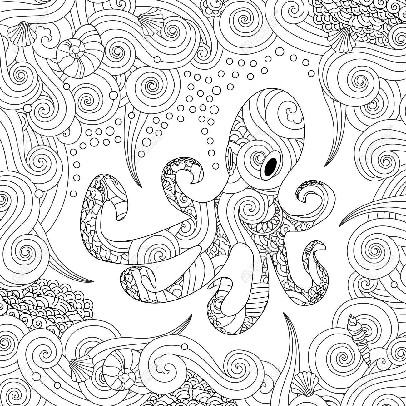 Dibujo Para Colorear Con Pulpo Adornado Aislado Sobre Fondo Blanco