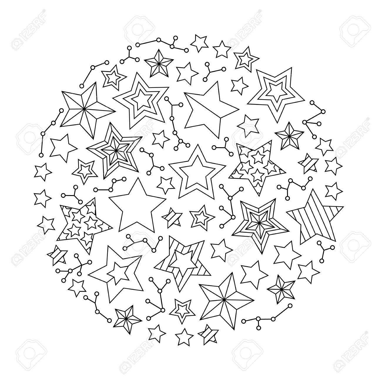 Mandala Redonda Gráfica Con Las Estrellas Estilo Inspirado Página Del Libro Para Colorear Para Adultos Y Niños Mayores Ilustración Vectorial De