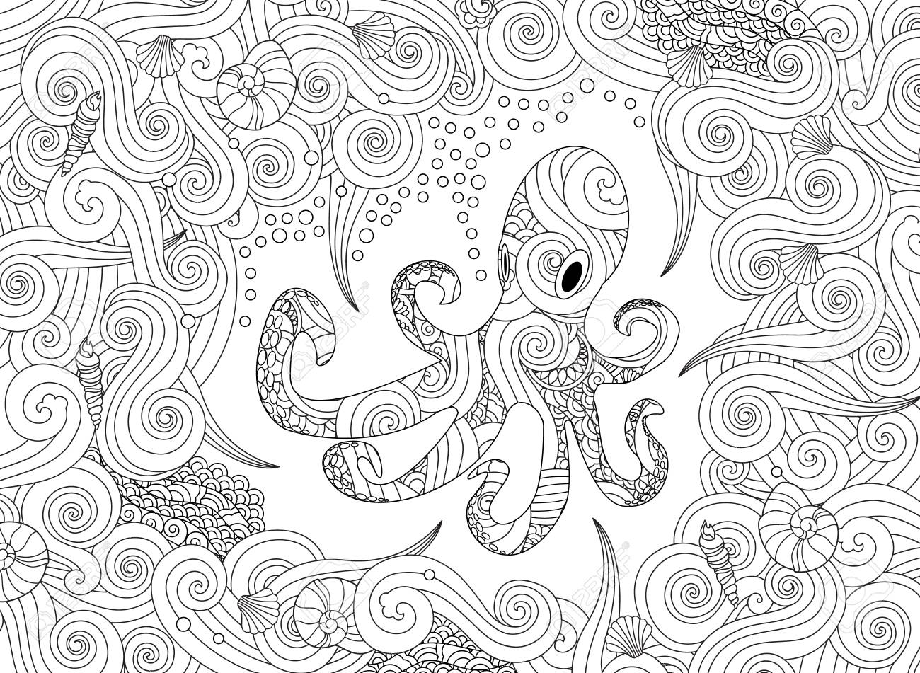 Coloring Page With Ornate Octopus Isolated On White Background