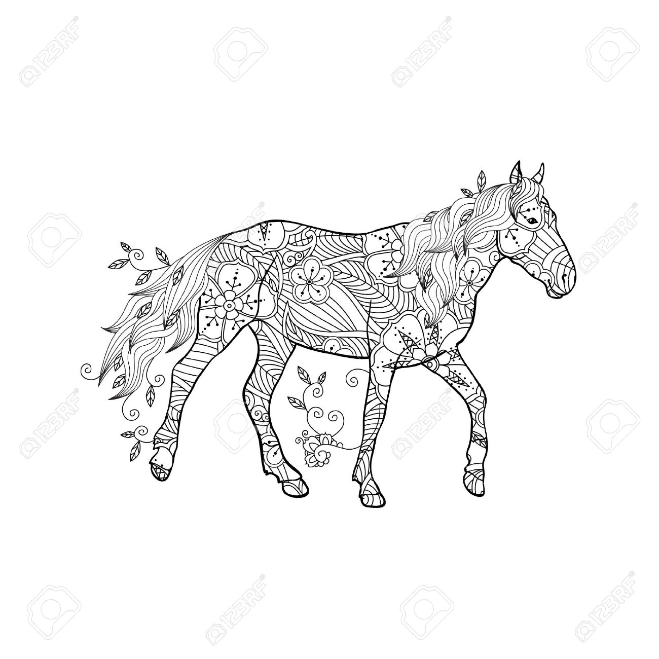 Coloring Page In Inspired Style Running Horse Ornate By Flowers And Leaves Isolated On White