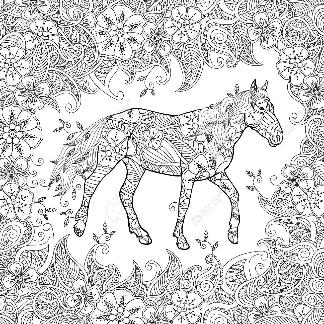 Coloriage Adulte Cheval.Coloriage Dans Un Style Inspire Faire Du Cheval Sur La Prairie