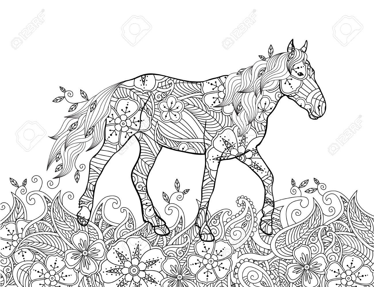 Malvorlage Im Inspirierten Doodle-Stil. Laufendes Pferd Auf ...
