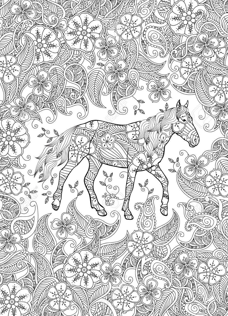 Kleurplaten Voor Volwassenen Paarden.Kleurplaat In Geinspireerde Stijl Rennen Paard Op Bloeiende Weide