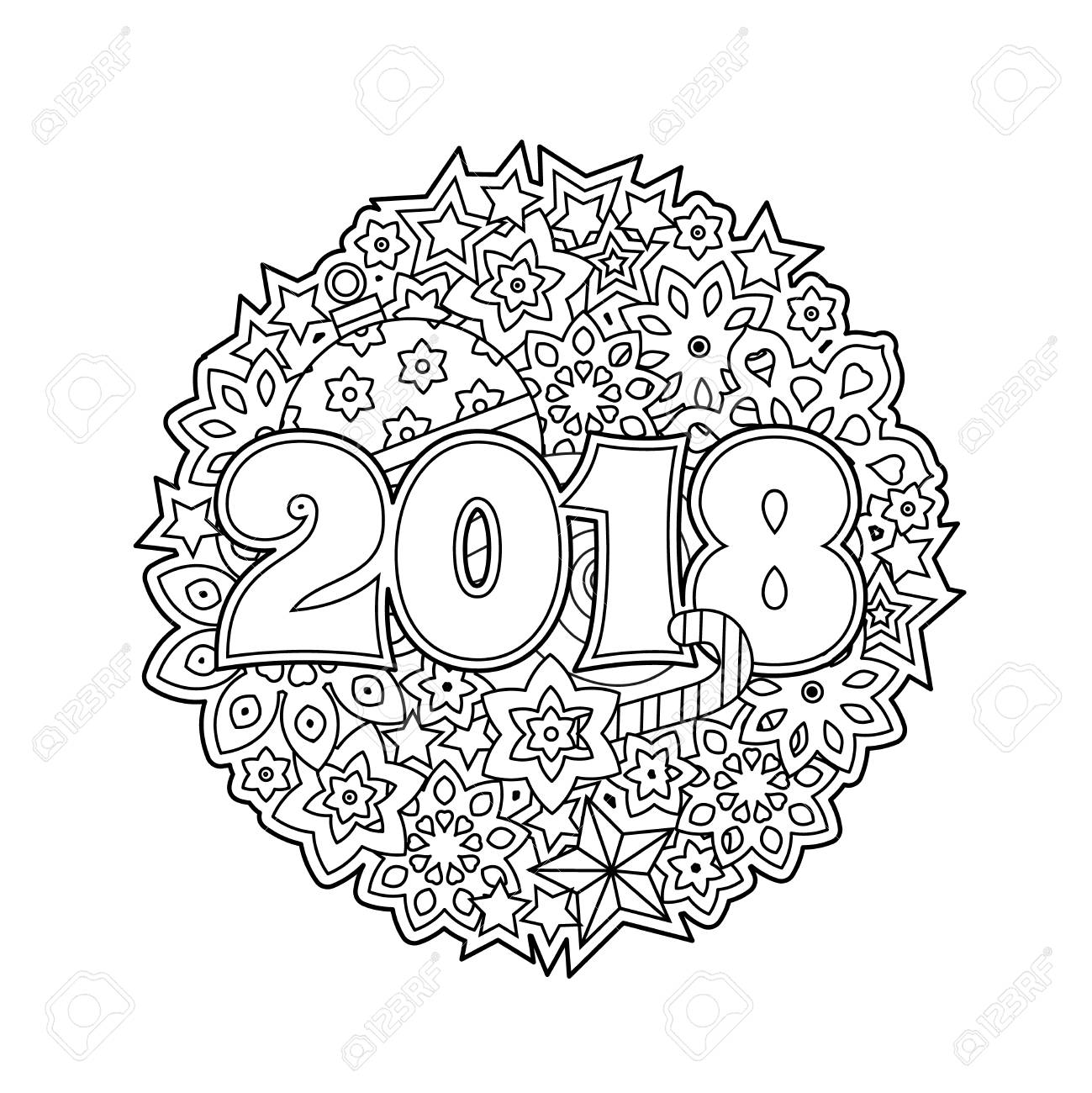 Tarjeta De Felicitación De Año Nuevo Con Números 2018 En Fondo De ...