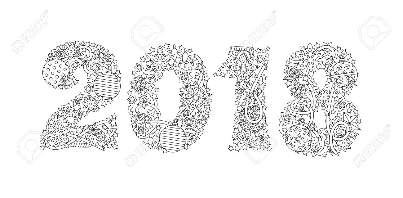 Happy New Year Number 2018 Isolated On White Background Zentangle Inspired Style Zen Black