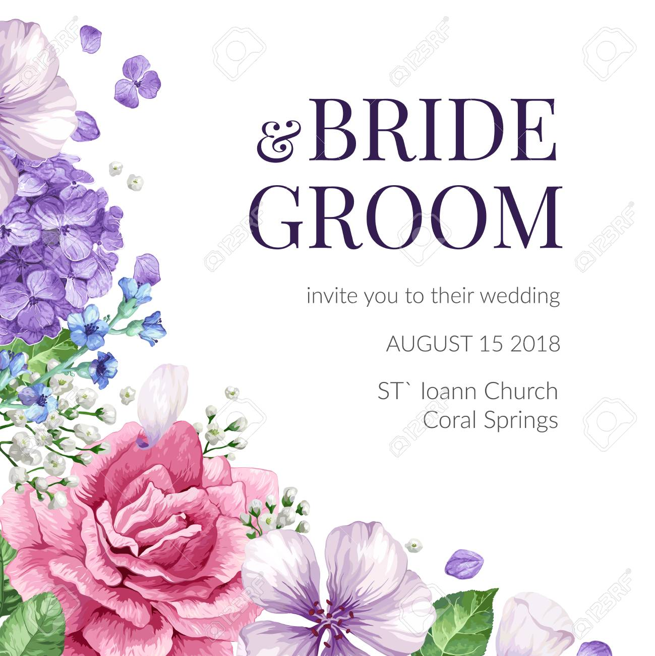 Wedding Invitation Card With Flowers In Watercolor Style On White