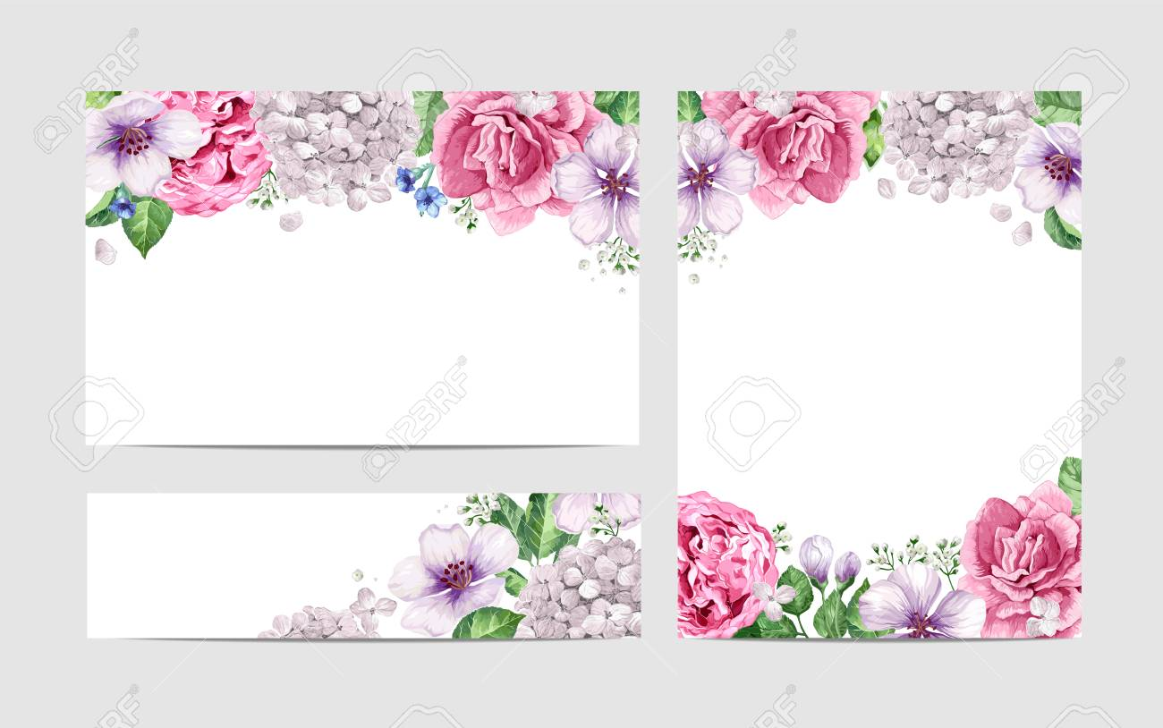 Floral Blank Template Set Flowers In Watercolor Style Isolated