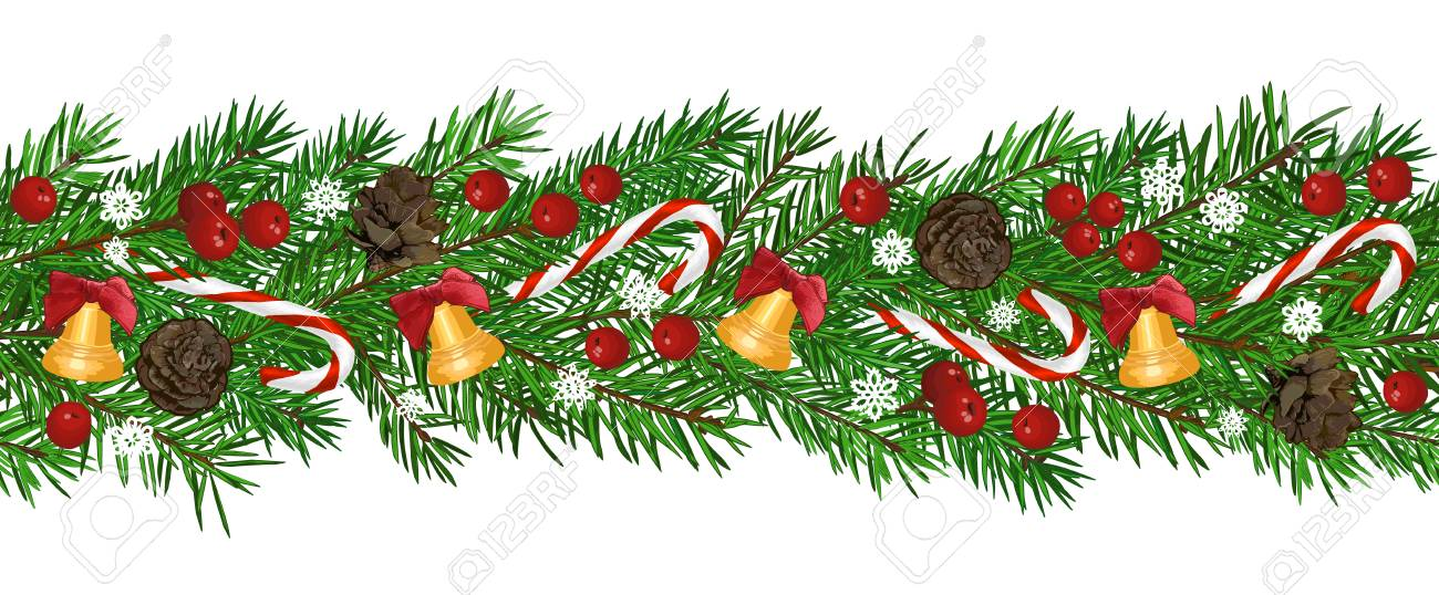 Seamless Background with realistic green fir tree branch, bell and christmas berries. Place for text, congratulation. Christmas, New Year symbol. Art vector illustration - 127057451