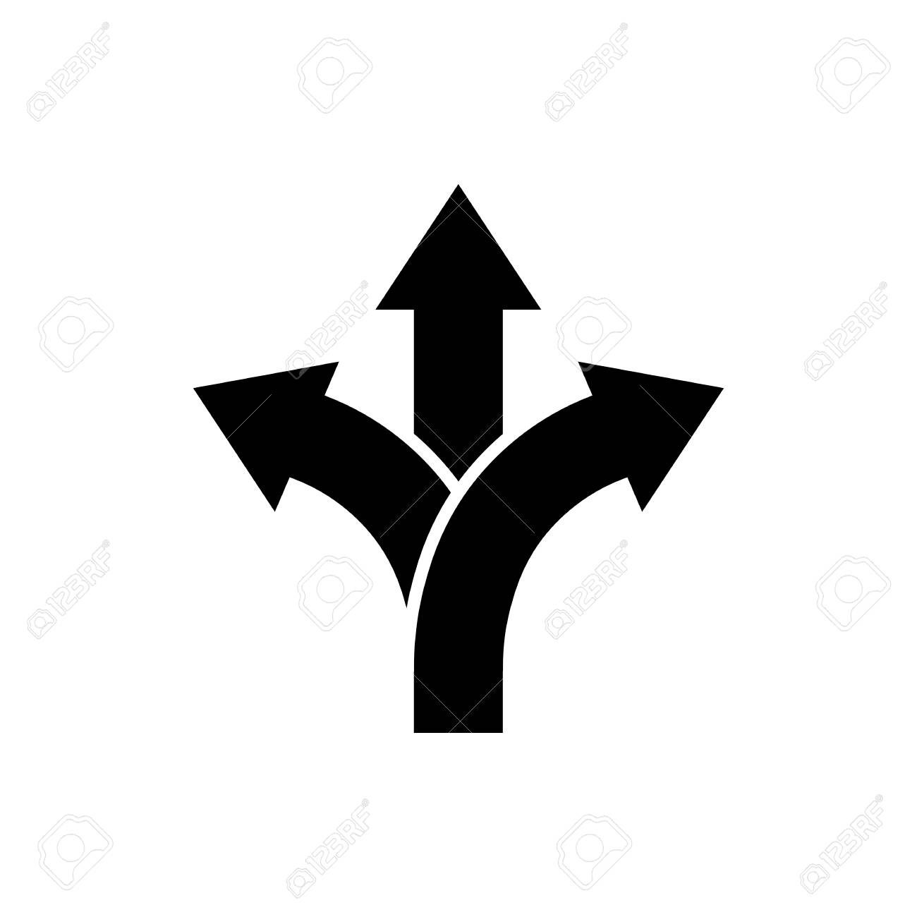 Three-way direction arrow icon in flat style. Road direction symbol isolated on white background Simple choice icon in black Vector illustration for graphic design, Web, UI, mobile upp - 99367690