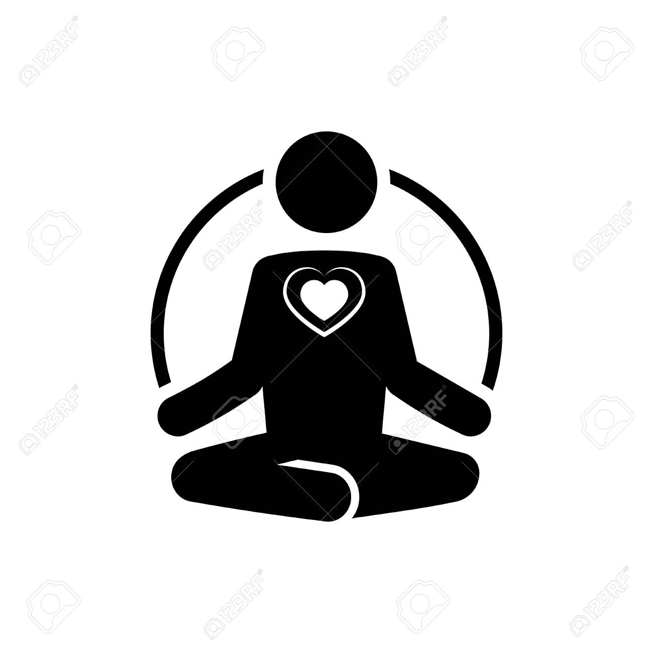 Yoga icon with heart. Meditate and love concept. - 132175121