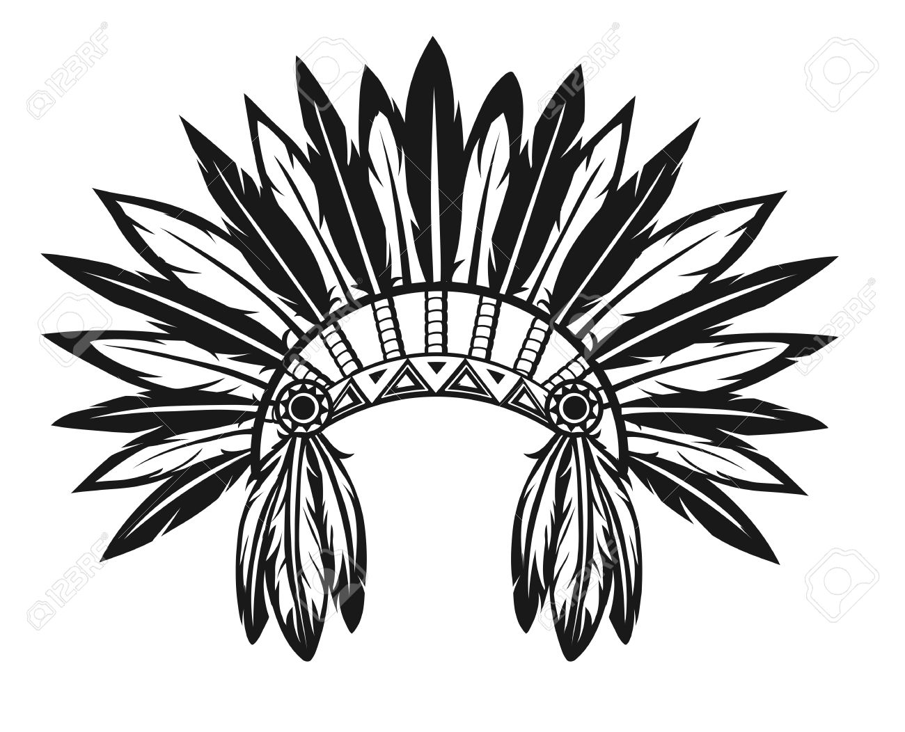 Illustration Of An Indian Headdress On A White Background Royalty ...