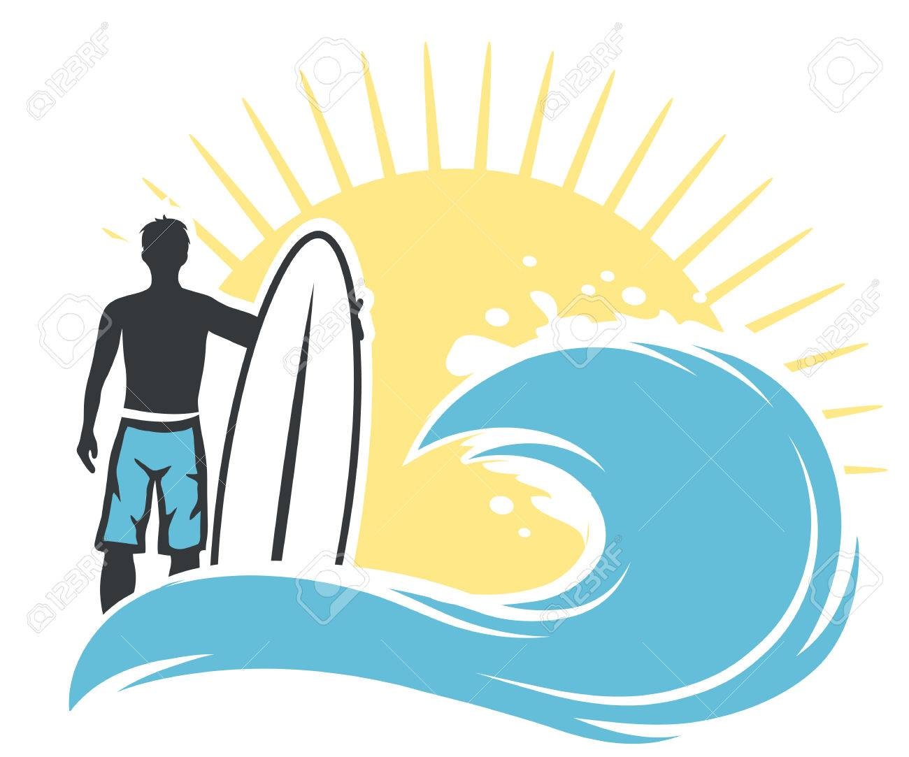surfer man on the beach with surfing board vector illustration rh 123rf com Surfer Clip Art Black and White Surfer Clip Art Black and White