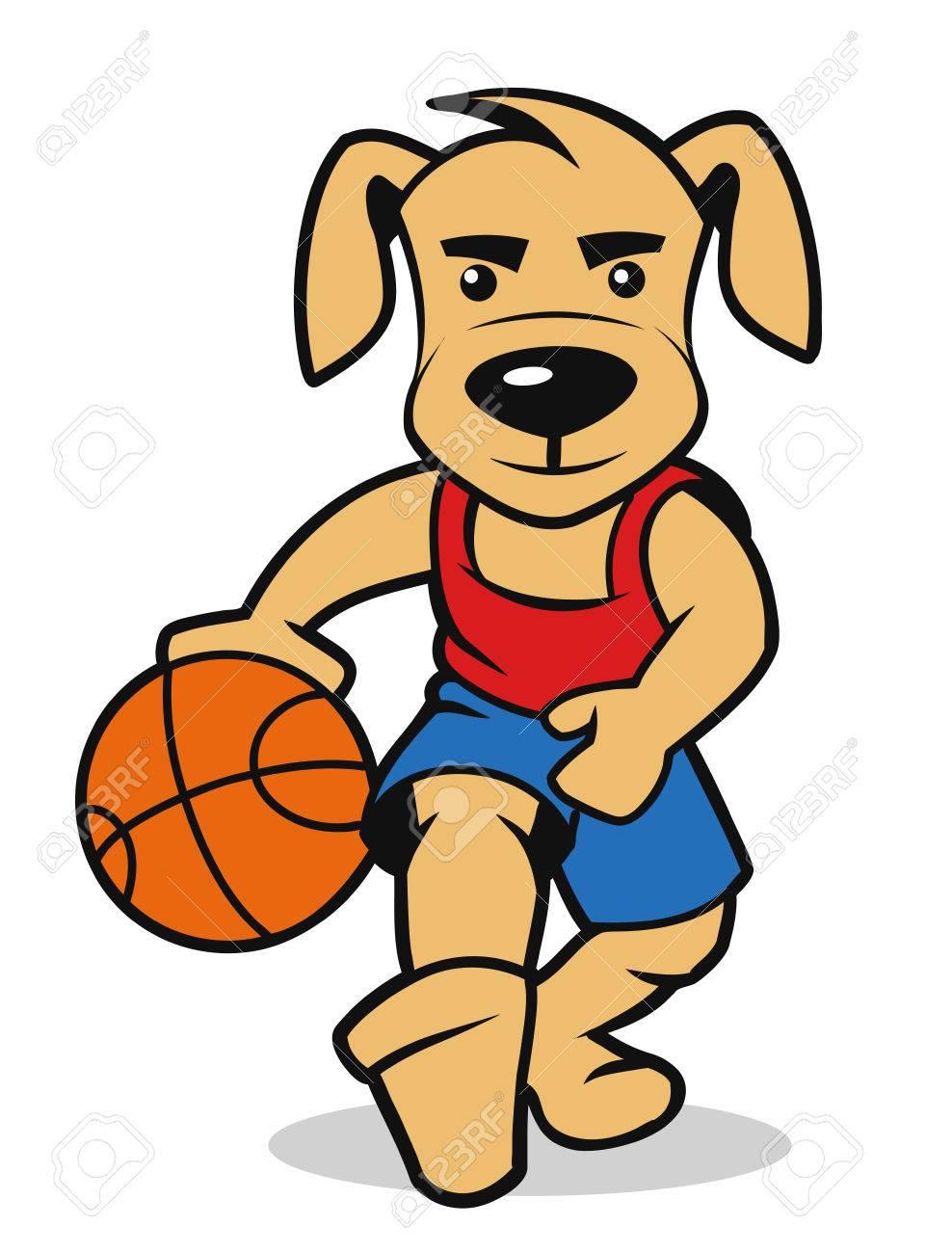 Jugar Al Baloncesto Perro, Ilustración Vectorial Ilustraciones ...