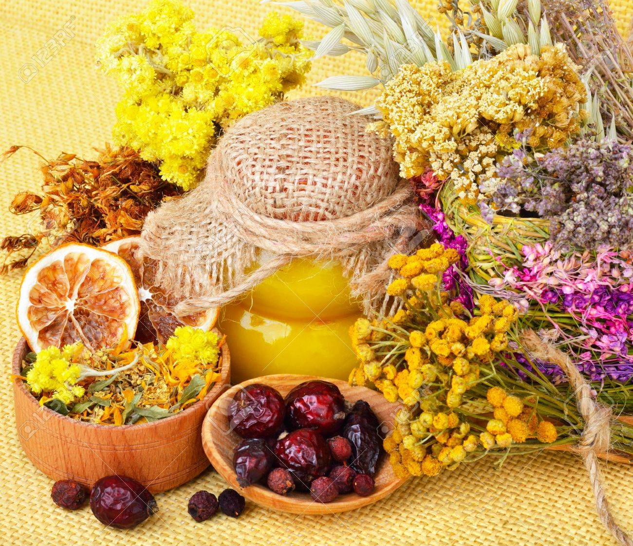 Medicinal herbs with honey, calendula, oats, immortelle flower, tansy herb, wild rose, dried lemon. - 39604241