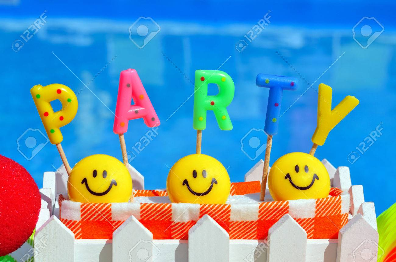 Party decorations on the swimming pool background - 45139924