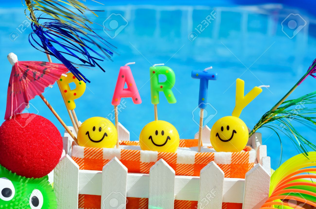 Swimming Pool Background party decorations on the swimming pool background stock photo