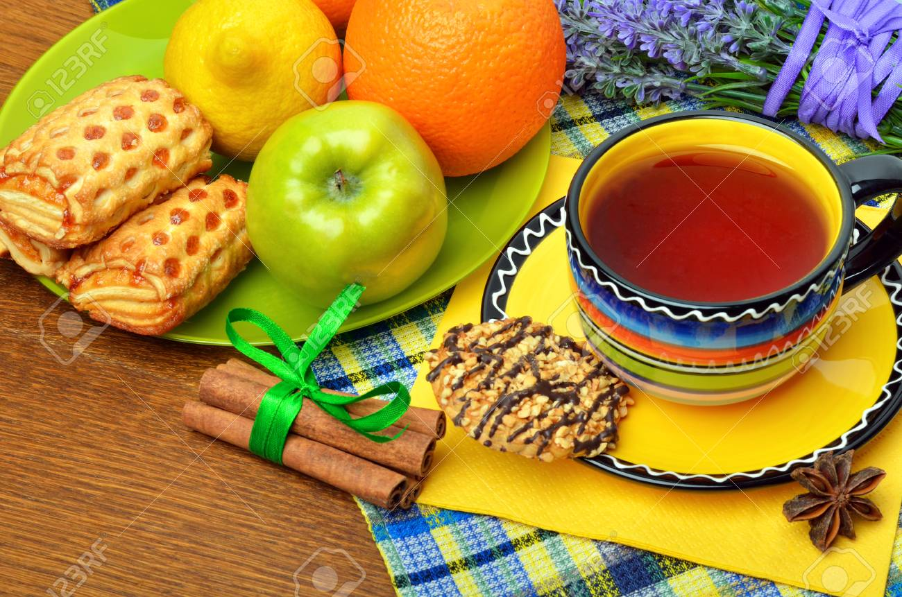 Breakfast With Black Tea And Fruits For Good Morning Stock Photo