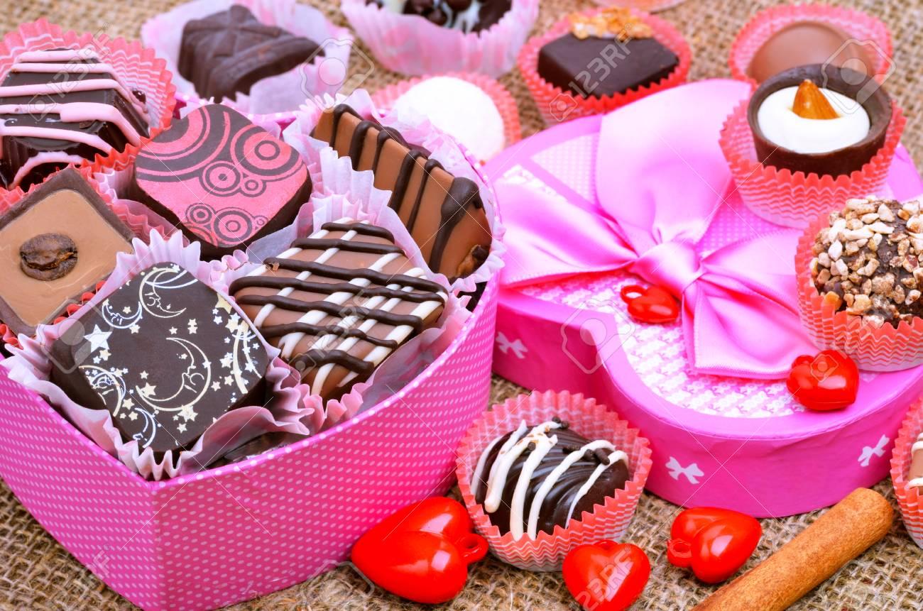 Chocolates in the box, dark, and milk chocolate. - 67027552