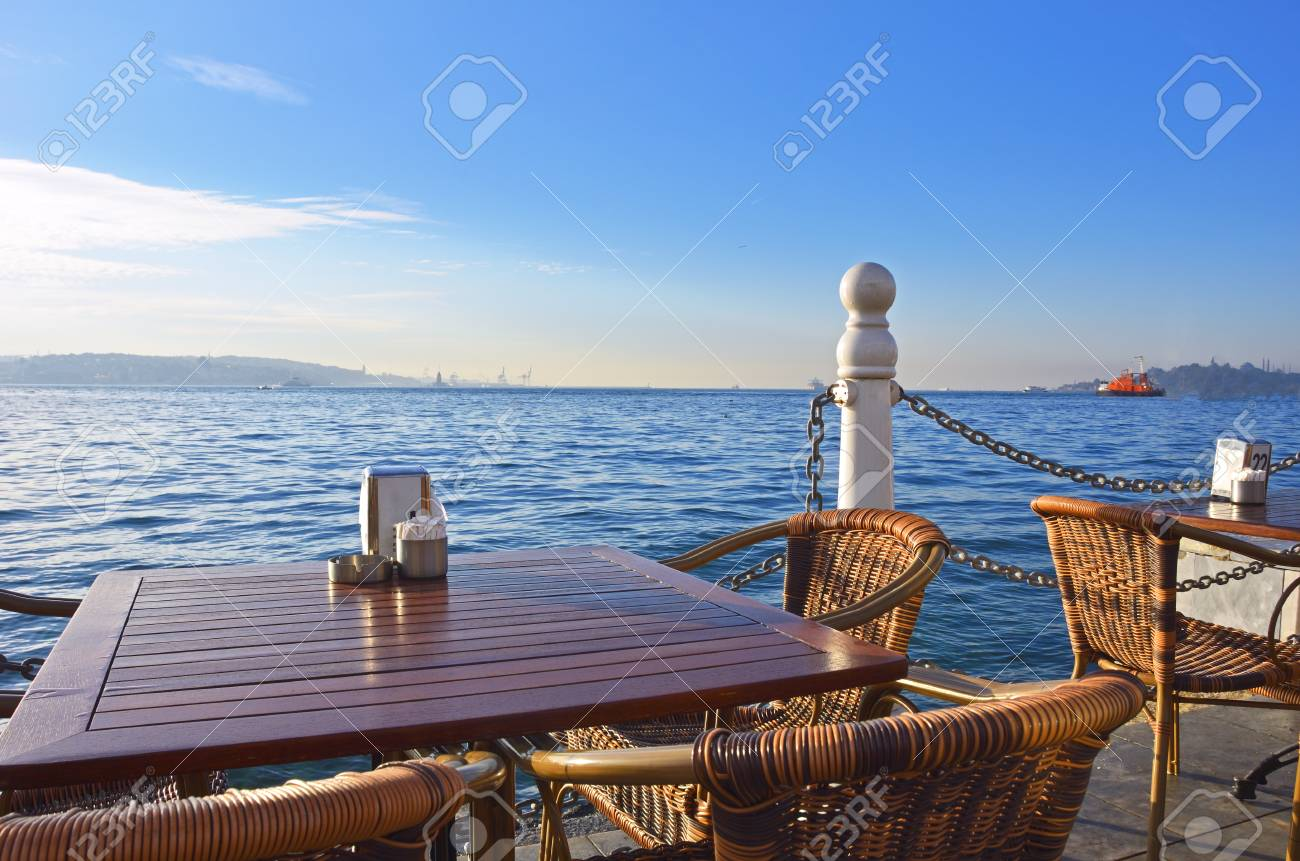 Cafe on the beach in Turkey. Early morning. - 95095429