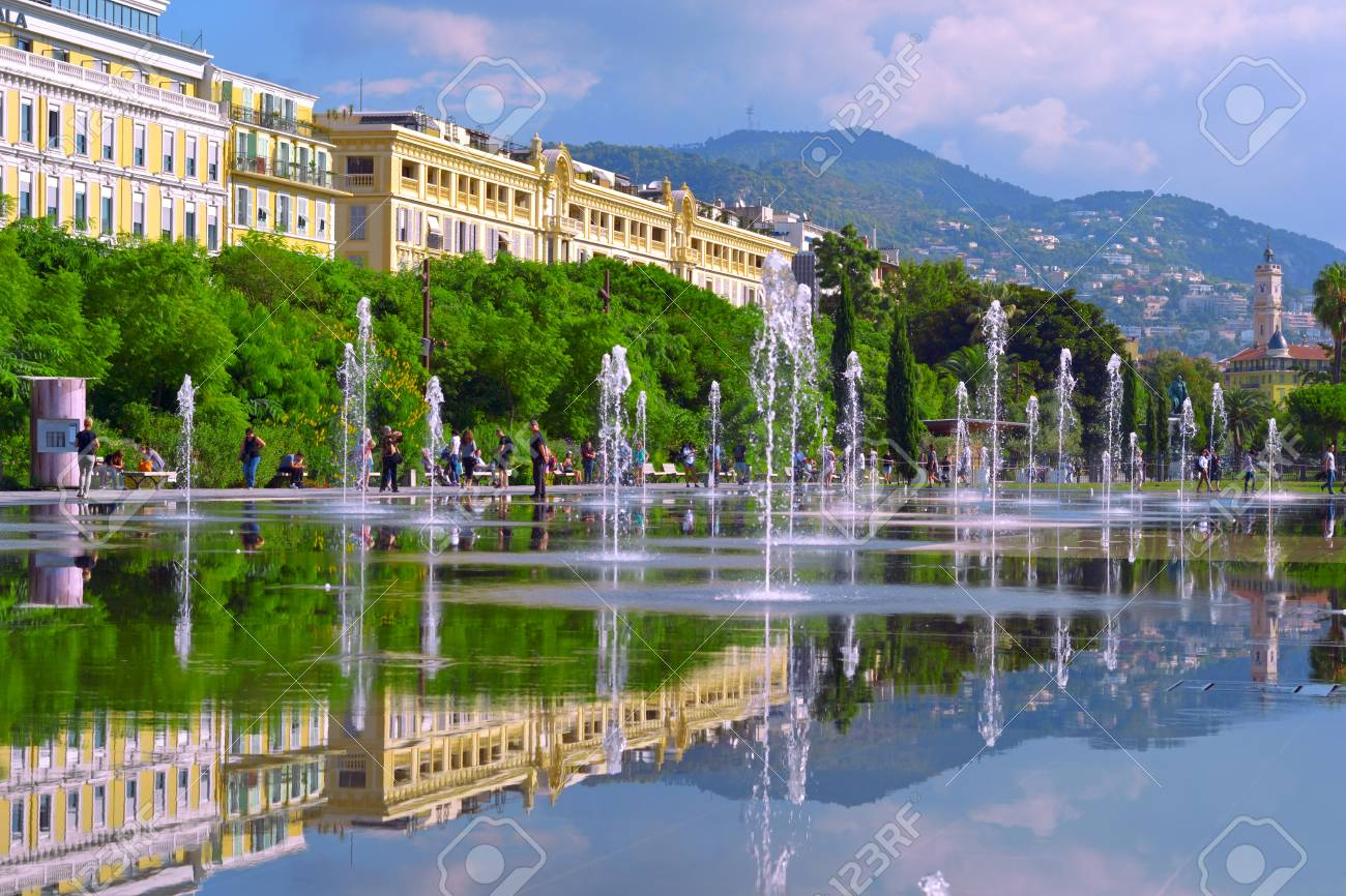 Cityscape with beautiful street fountain. Europe square in Nice. - 121736314