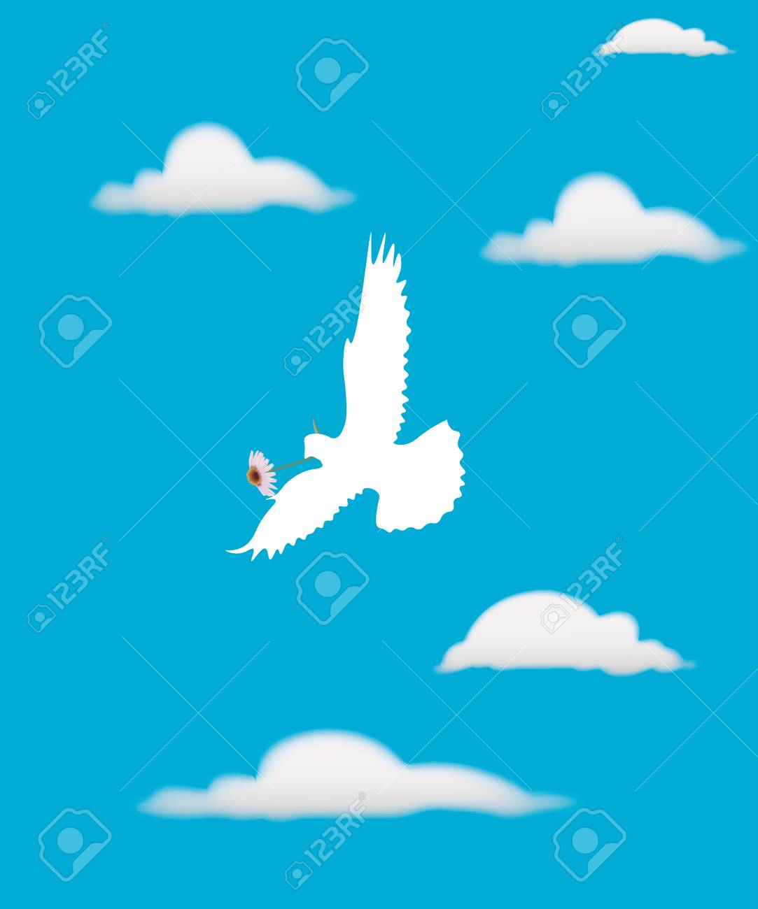 White Dove Against The Blue Sky And White Clouds The Symbol Of
