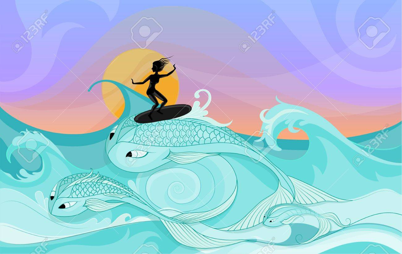 Silhouette Of Young Female Surfer Riding On Ocean Waves Stylized