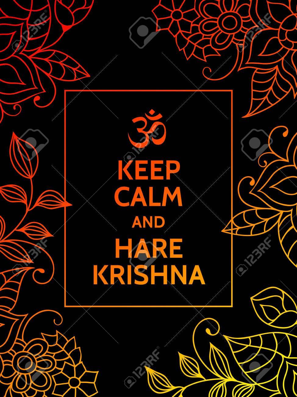 Mantenga La Calma Y Hare Krishna Mantra Yoga Cartel De La Tipografía De Motivación Sobre Fondo Negro Con Coloridos Naranja Y Estampado De Flores De
