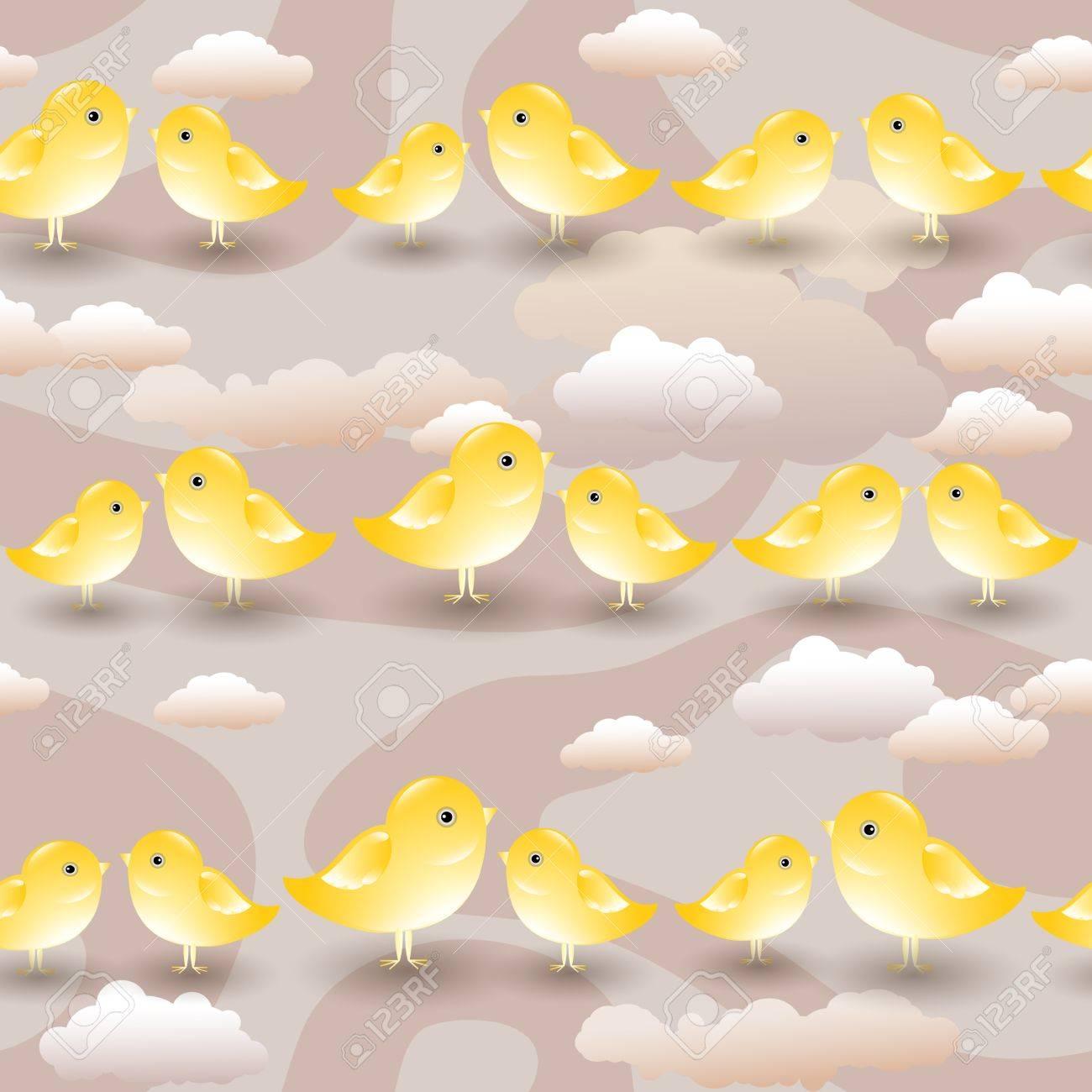 Patrones Sin Fisuras Con Las Aves De Dibujos Animados De Color ...