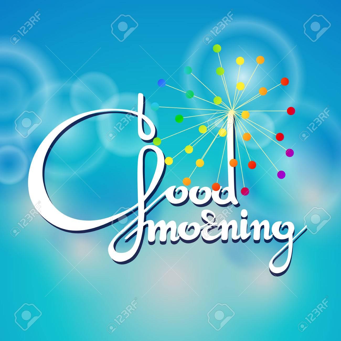 Vector Illustration Of Handwritten Words Good Morning On Blue