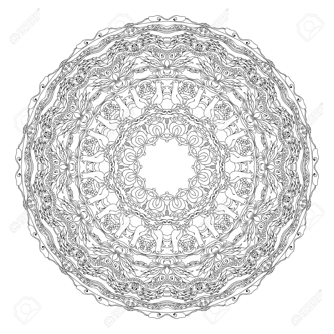 Coloriage De Mandala Doiseau.Mandala En Forme D Oiseaux Profilees Des Fleurs Des Feuilles Et