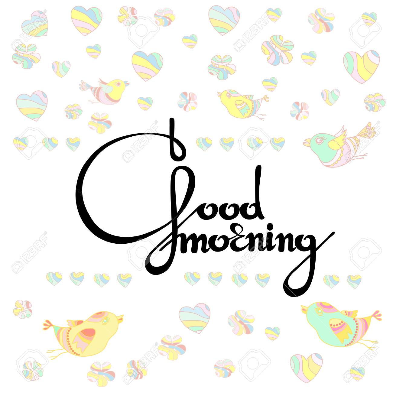 Vector Illustration Of Handwritten Words Good Morning With Royalty