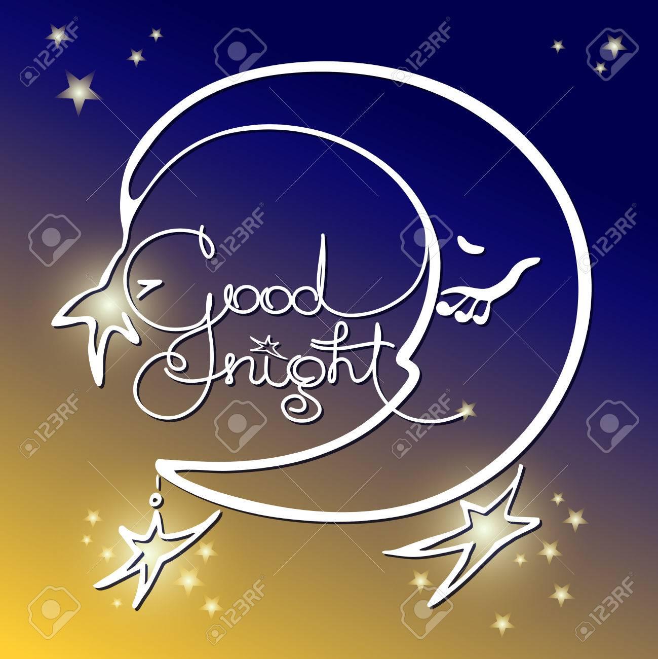 Good Night Vector Illustration Of Handwritten Words Moon On
