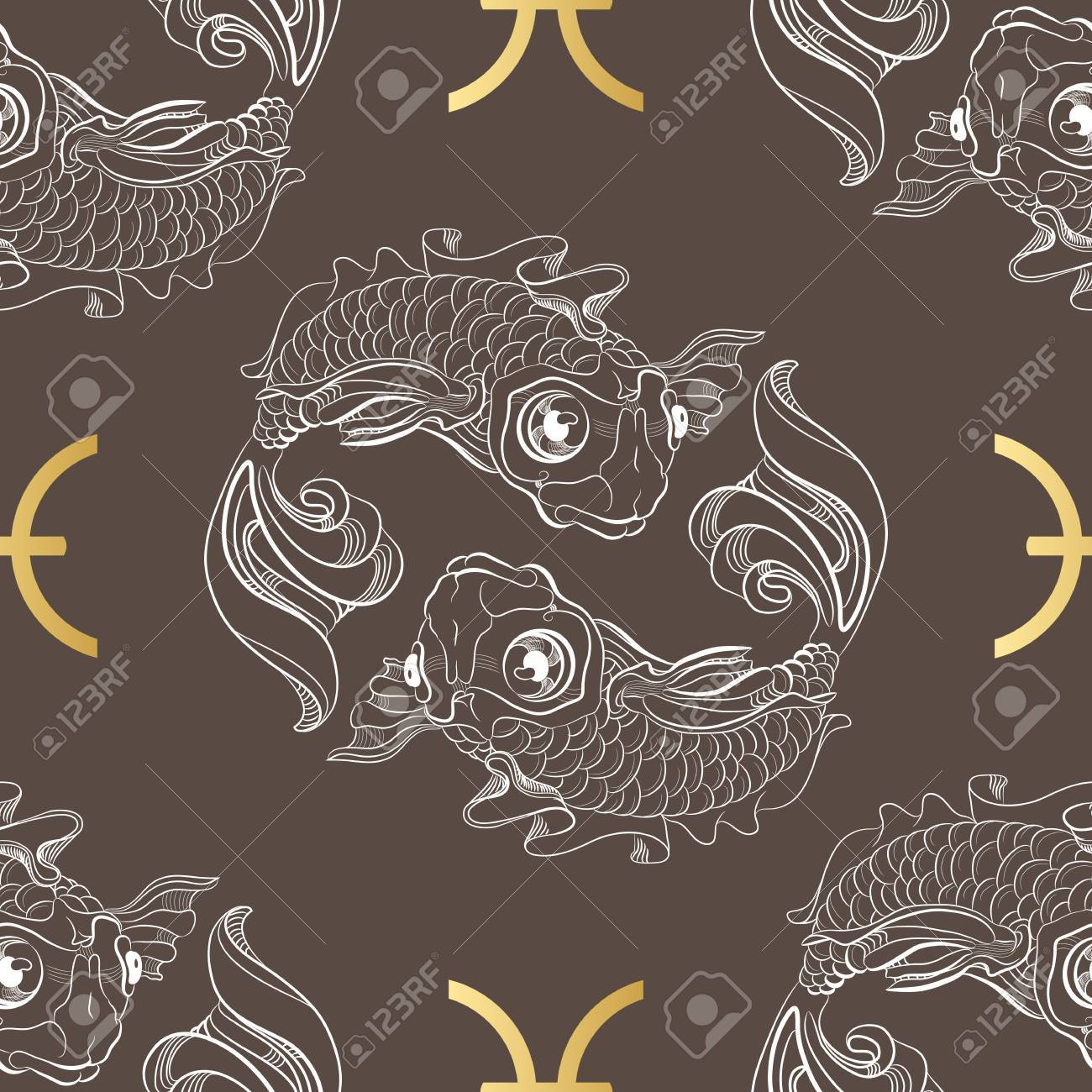 Hand Drawn Line Art Of Decorative Zodiac Sign Pisces Horoscope