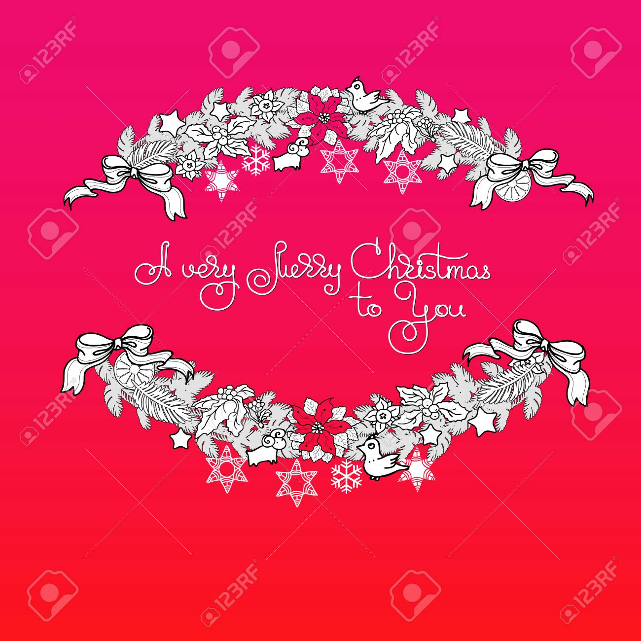 Hand Drawn Vector Christmas Greeting Card With Garland Toys